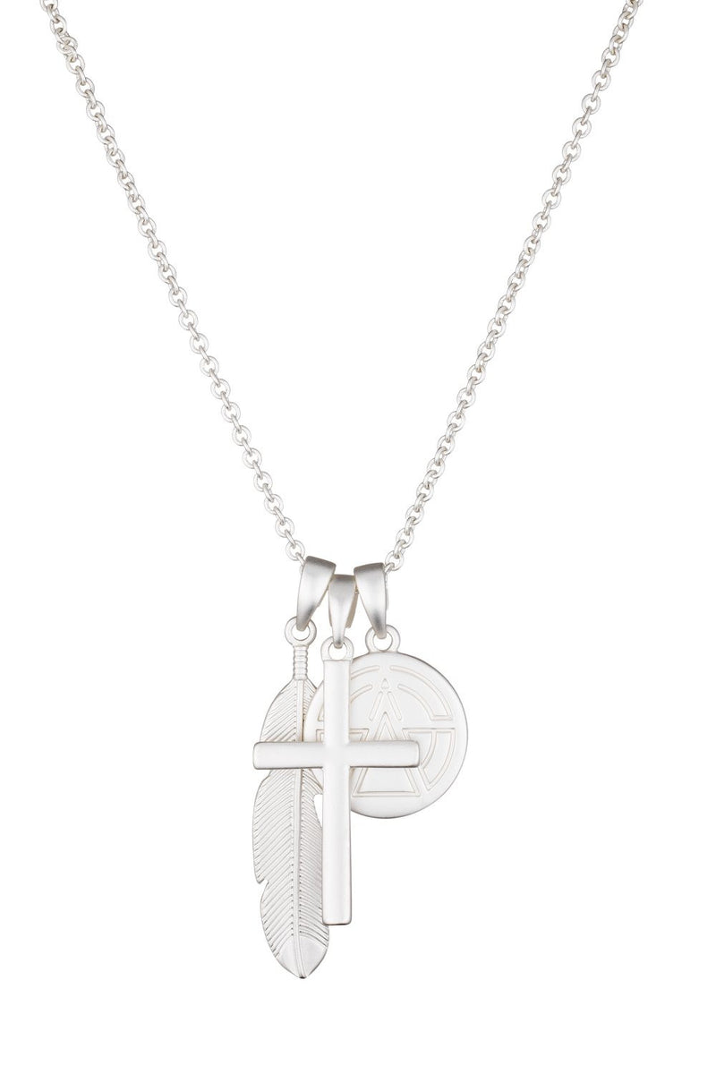 Chained & Able Cross Bunch Necklace - Matt Silver