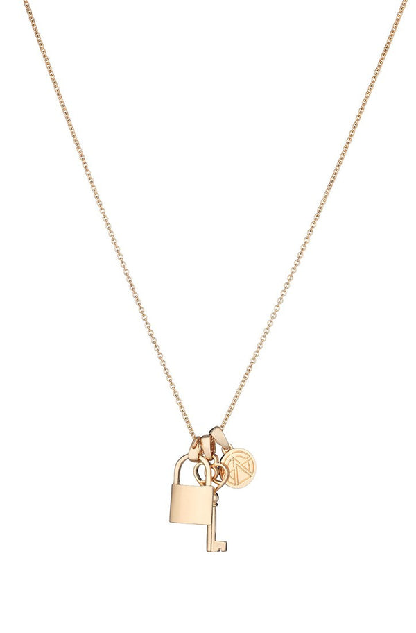 Chained & Able Lock And Key Bunch Necklace - Gold