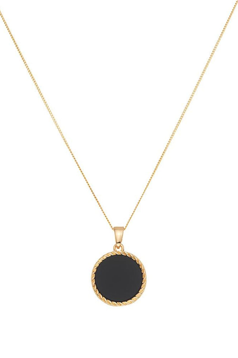 Chained & Able Onyx Medallion Necklace - Gold