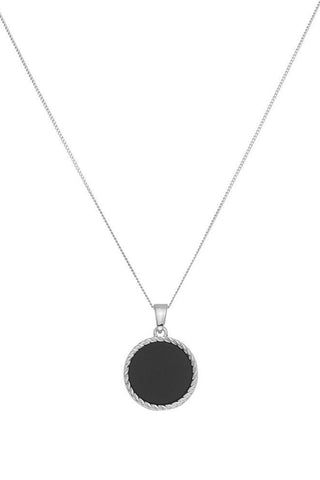 Chained & Able Onyx Medallion Necklace - Silver