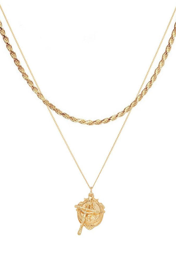 Chained & Able St Christopher Medallion Bunch Rope Layer Pack - Gold