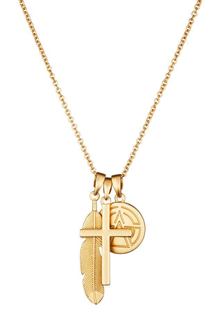 Chained & Able Cross Bunch Necklace - Matt Gold