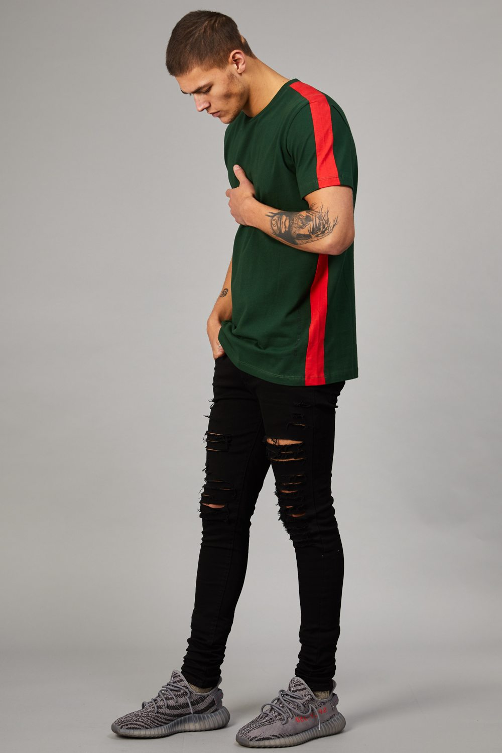 Criminal Damage Carnaby T-Shirt - Olive/Red - 1