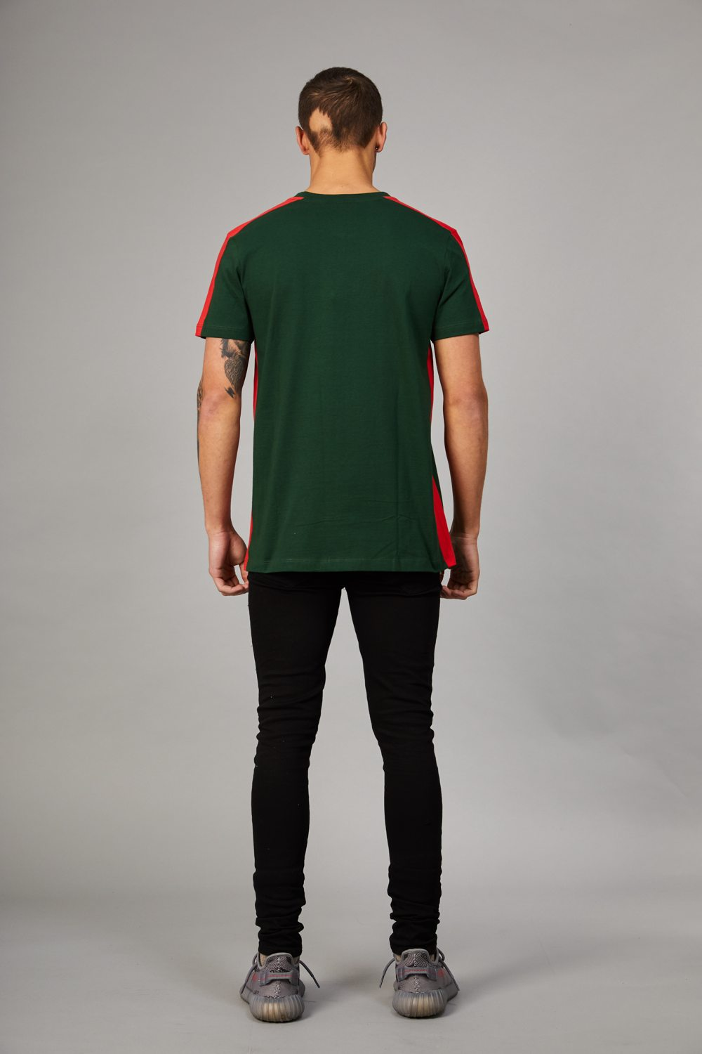 Criminal Damage Carnaby T-Shirt - Olive/Red - 2