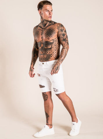 Emulate Clothing Strone Ripped Denim Shorts - White