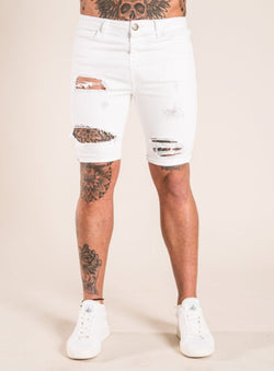 Emulate Clothing Strone Ripped Denim Shorts - White - 1