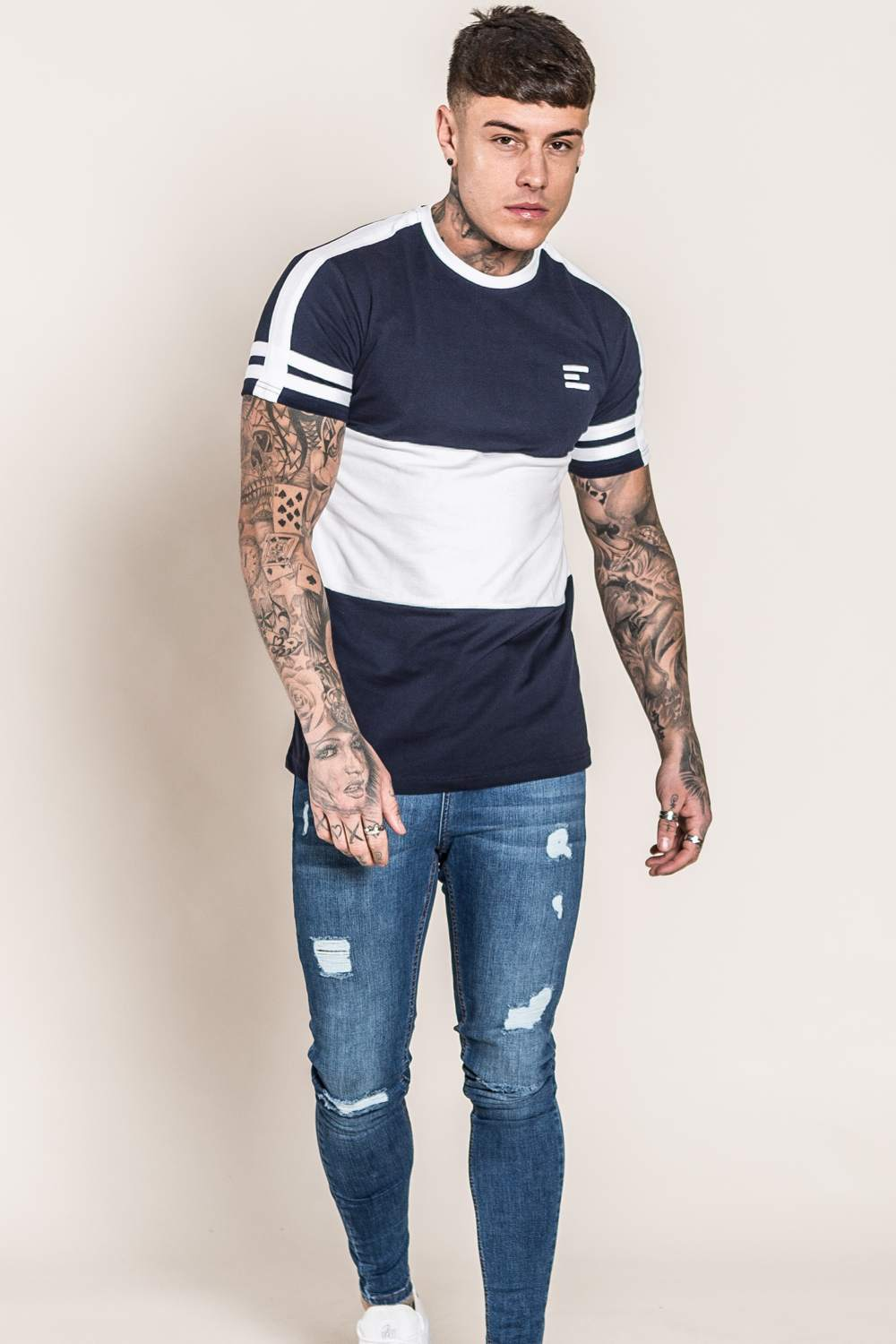 Emulate Huxley T-Shirt - Navy/White - 3