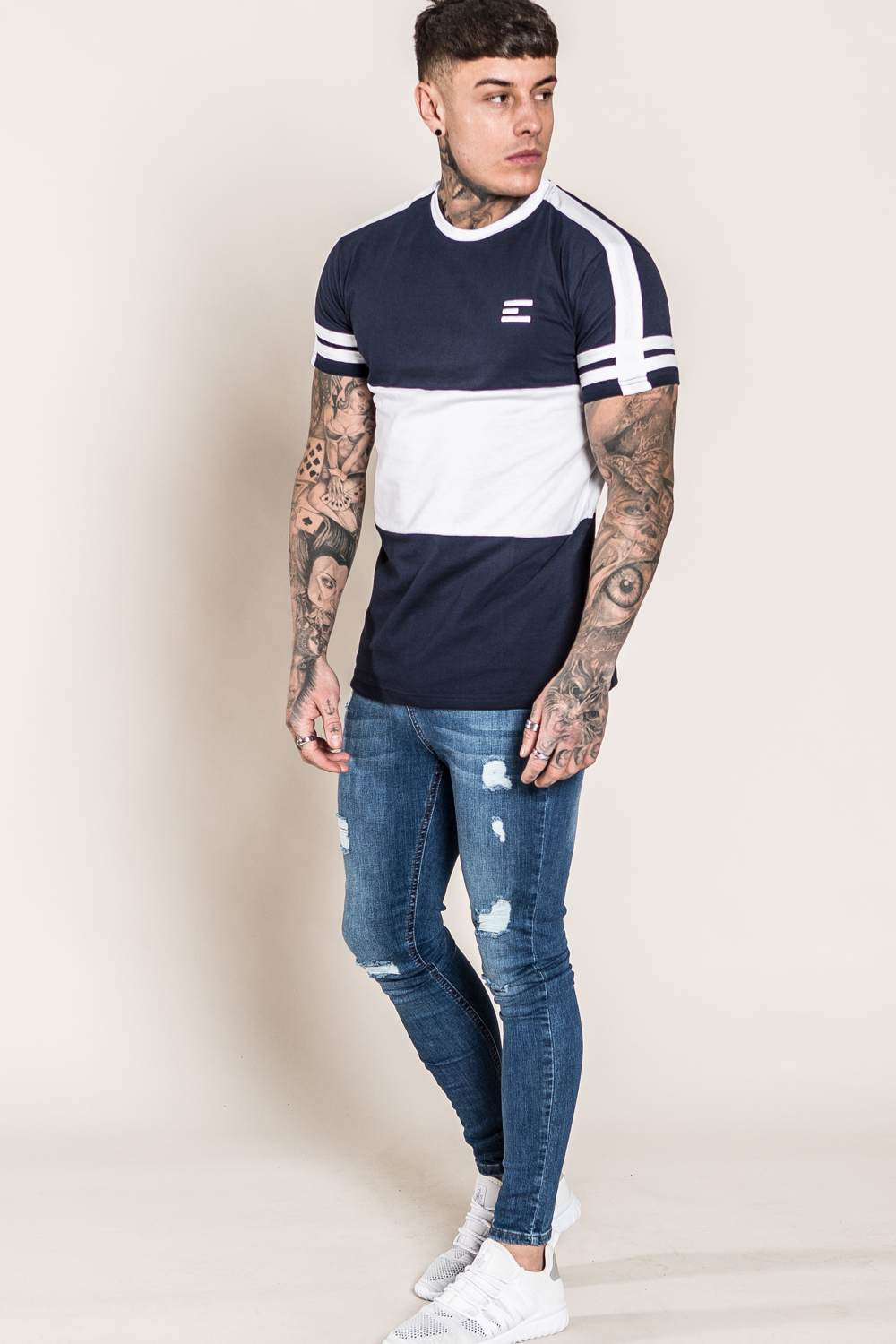Emulate Huxley T-Shirt - Navy/White - 2