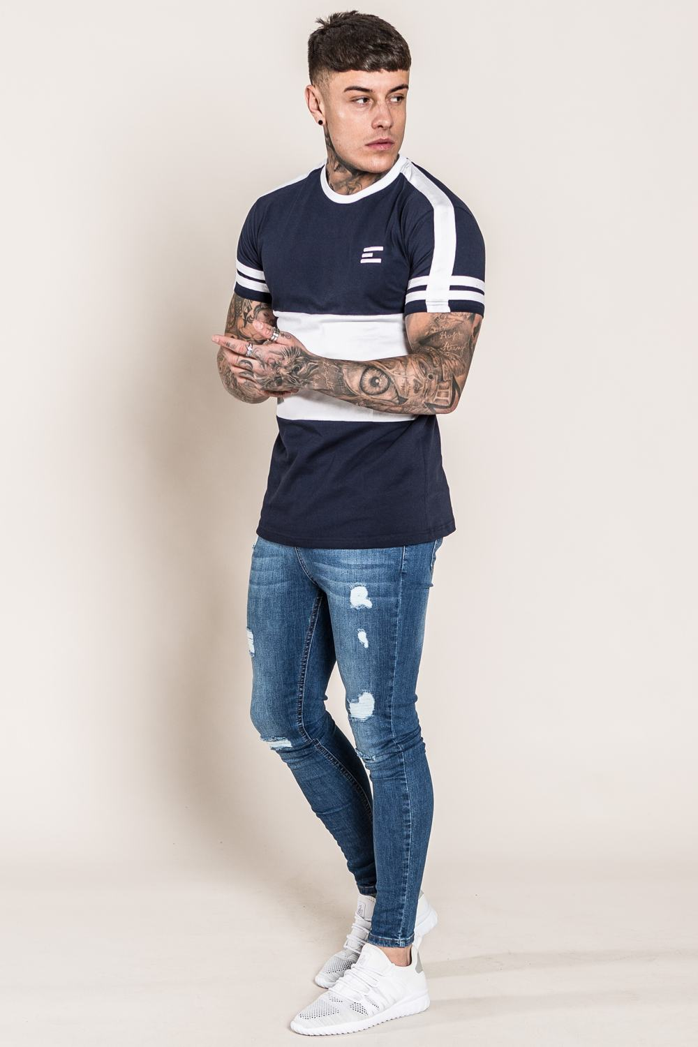 Emulate Huxley T-Shirt - Navy/White - 1