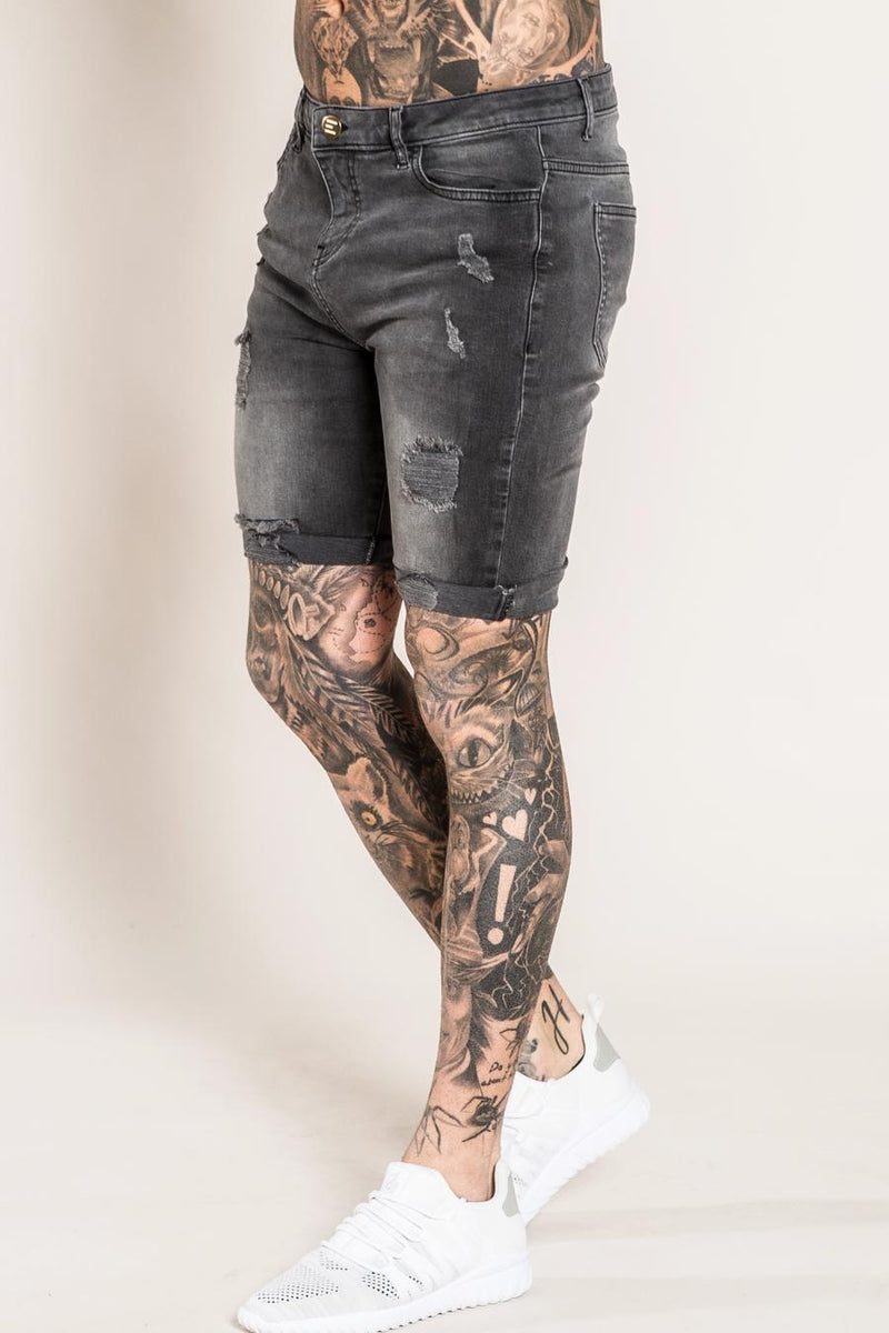 Emulate Marquee Men's Ripped Denim Shorts - Black wash - 1