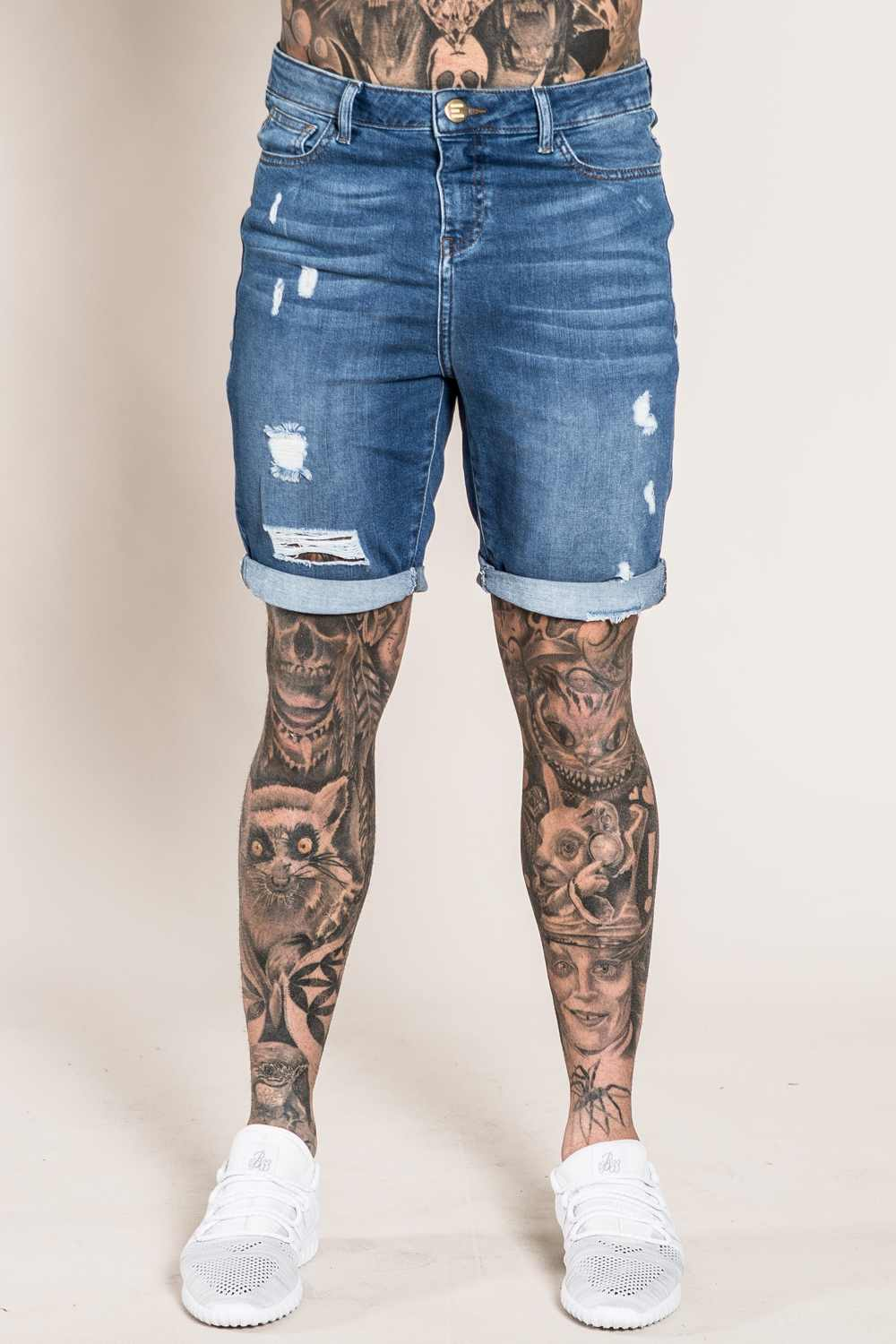 Emulate Marquee Mens Ripped Denim Shorts - Dark Wash