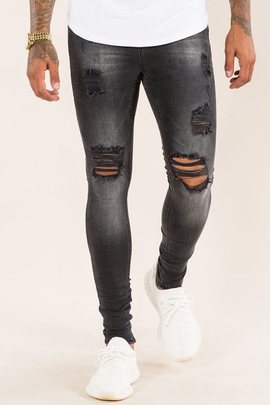 Emulate Marquee Ripped Skinny Jeans - Black Wash