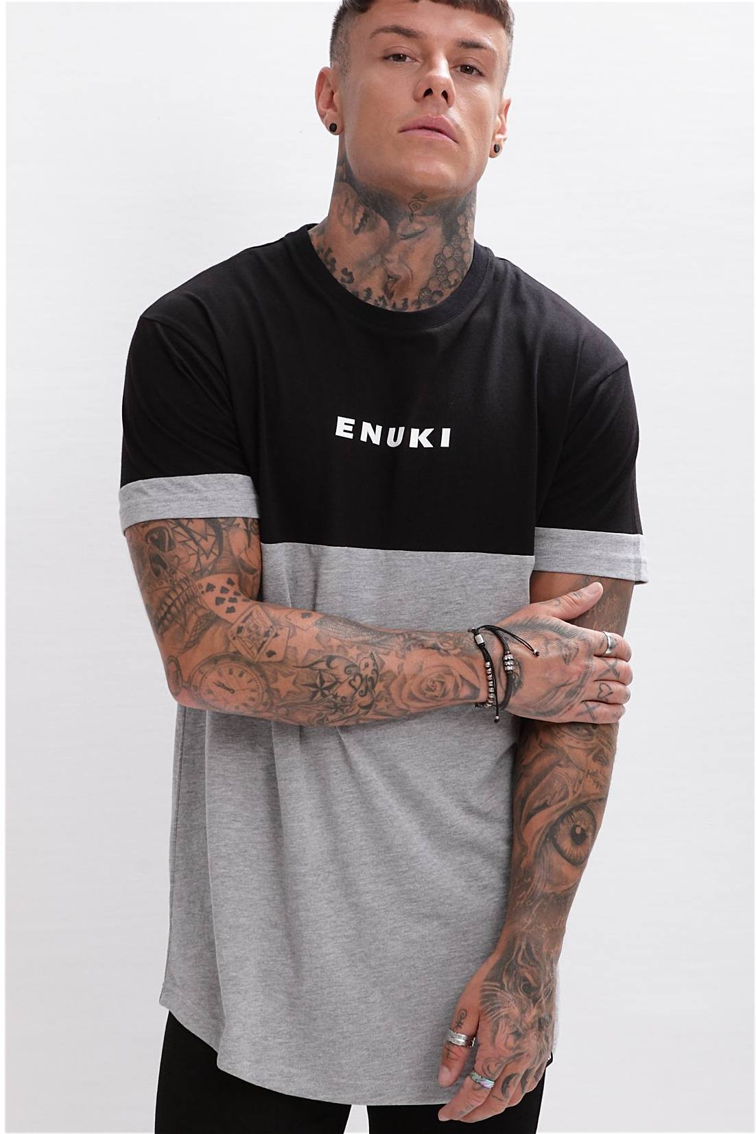 Enuki London Nasai Drop Shoulder Tee - Black/Grey