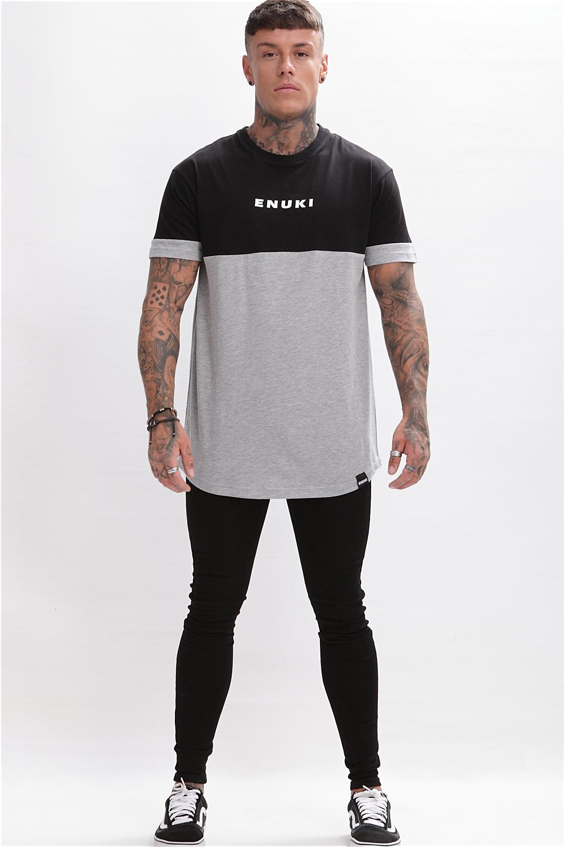 Enuki London Nasai Drop Shoulder Tee - Black/Grey - 1