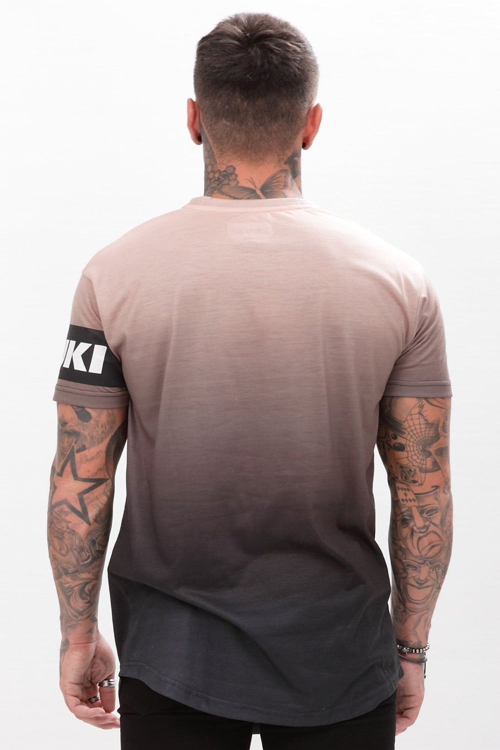 Enuki London Sapporo Dip Dye T-Shirt  - Hazelnut/Black - 2