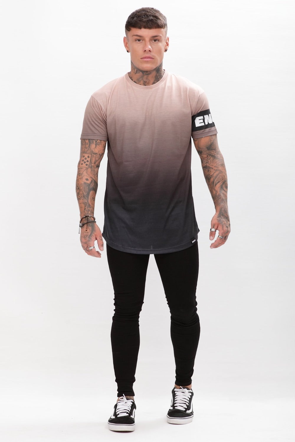 Enuki London Sapporo Dip Dye T-Shirt  - Hazelnut/Black - 1