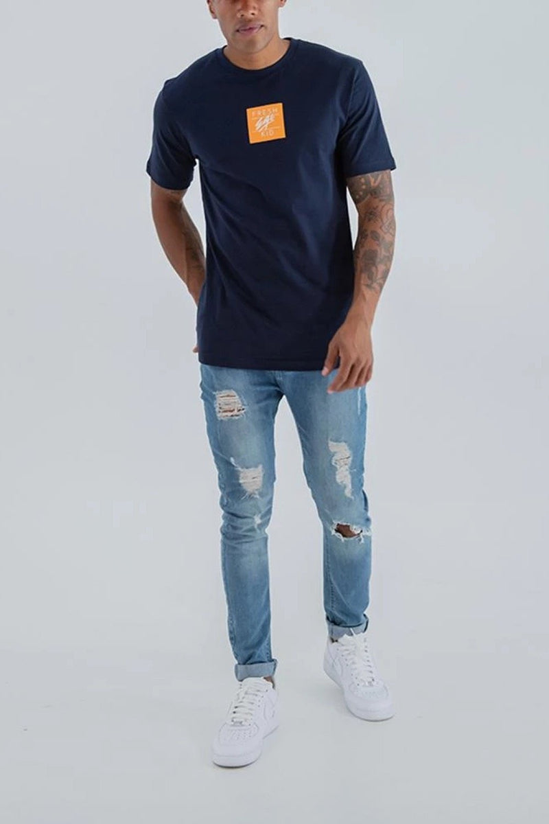 Fresh Ego Kid Small  Box Logo T-Shirt - Navy - 1