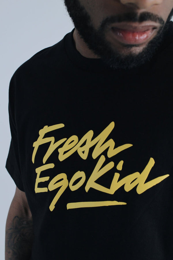 Fresh Ego Kid Script Logo T-Shirt - Black/Yellow - 1