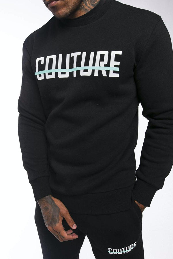 Fresh Couture Strike OG Sweatshirt- Black/Aqua