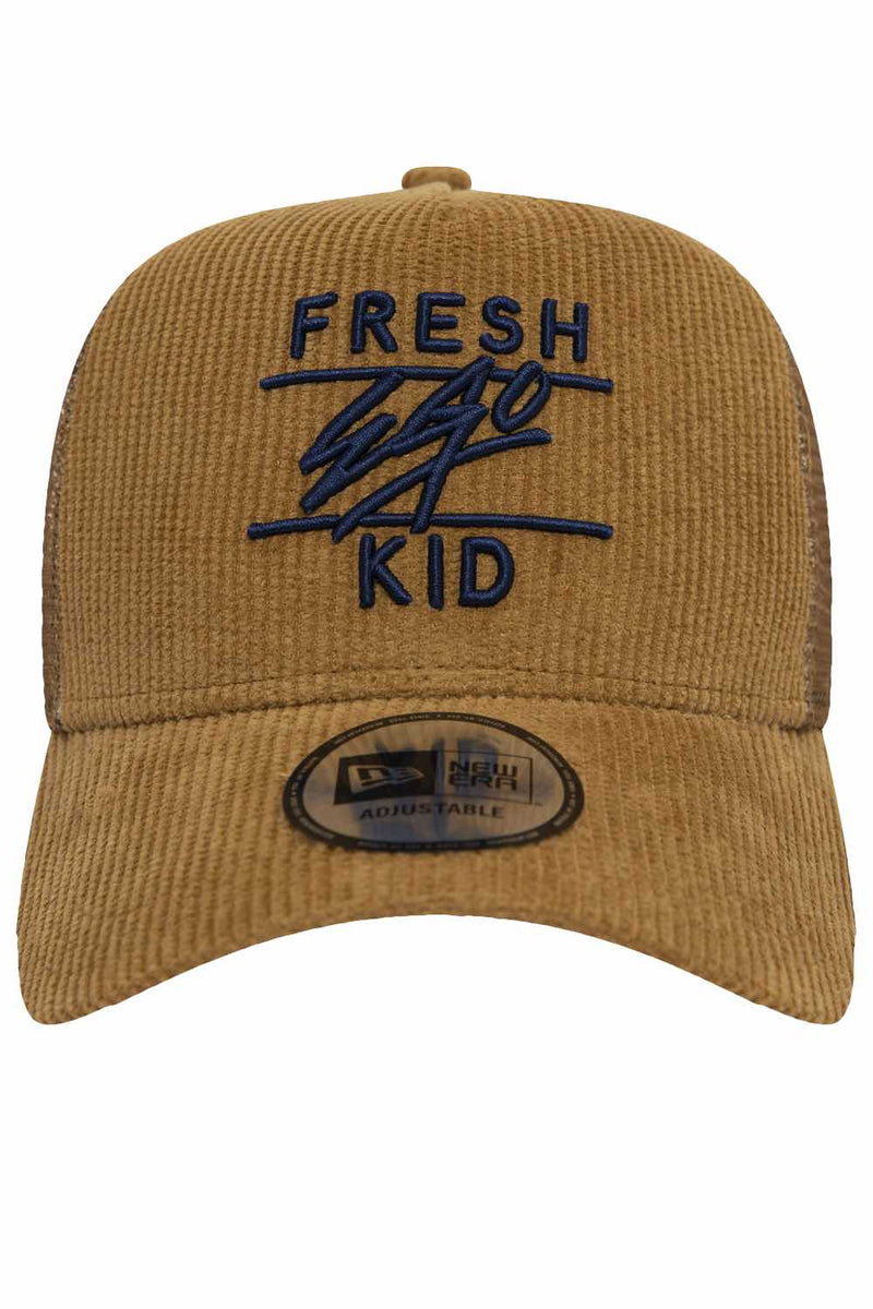 Fresh Ego Kid New Era Cord Trucker Cap - Tan