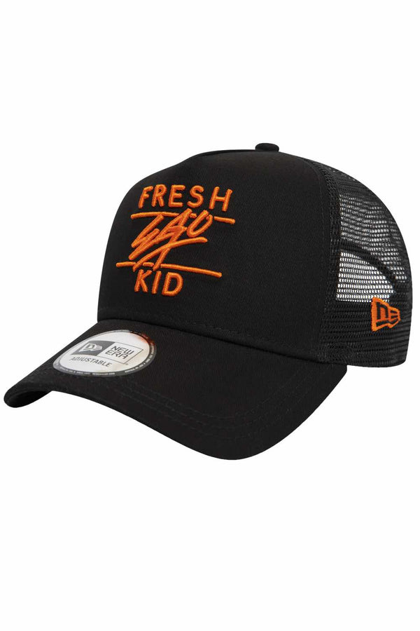 Fresh Ego Kid New Era Mesh Trucker Cap - Black/Orange - 1