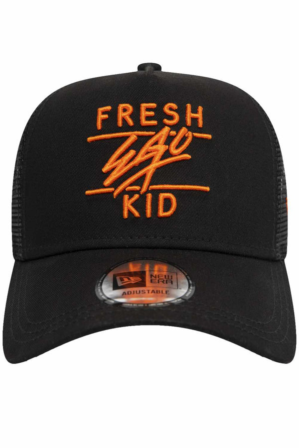 Fresh Ego Kid New Era Mesh Trucker Cap - Black/Orange