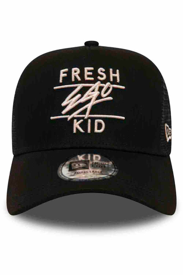 Fresh Ego Kid New Era Mesh Trucker Cap - Black/Rosewater
