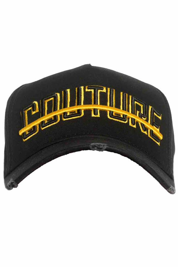 Fresh Couture Distressed Trucker Cap - Black/Gold - 1