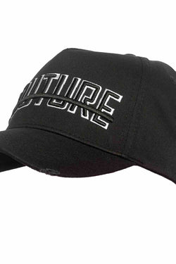 Fresh Couture Distressed Trucker Cap - Black/White