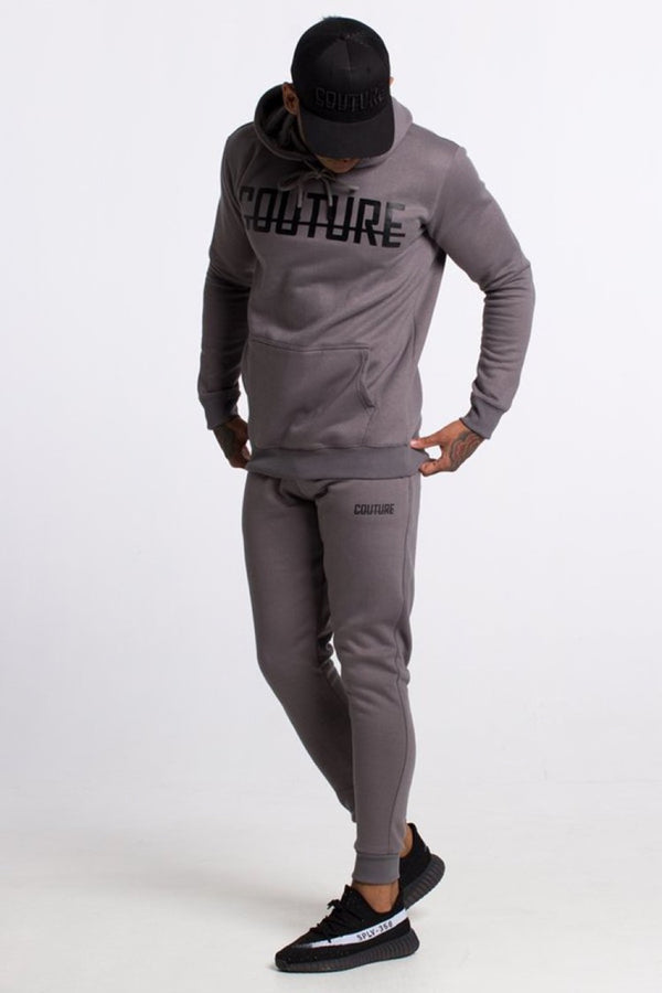 Fresh Couture Fitted Fleece Pants - Steel Grey