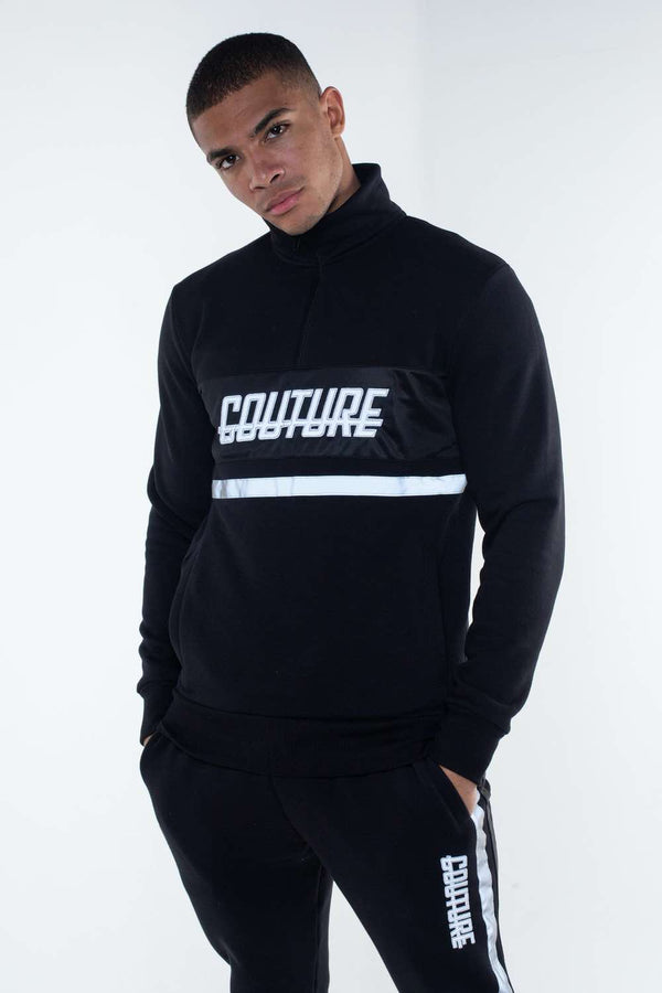 Fresh Couture Flash Reflective Quarter Zip - Black