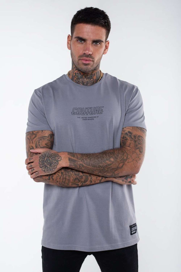 Fresh Couture Flux T Shirt - Steel Grey
