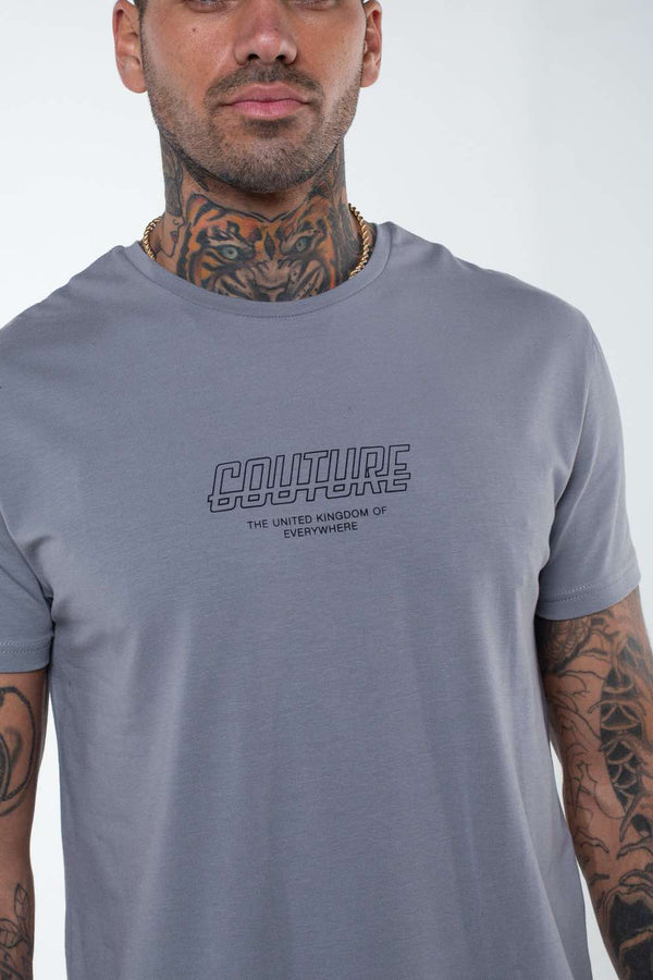 Fresh Couture Flux T Shirt - Steel Grey - 1