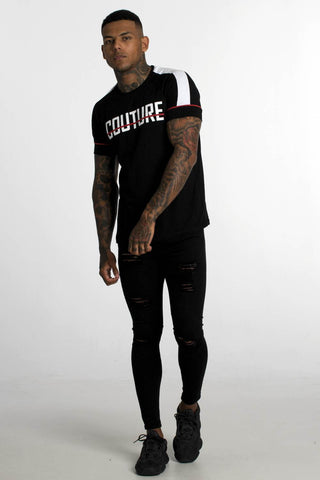 Fresh Couture Large Logo Retro T-Shirt - Black -1