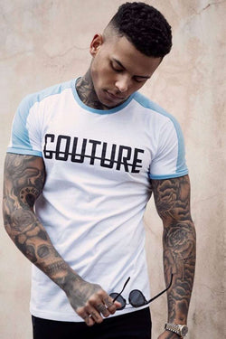 Fresh Couture Logo Longline Ringer T-Shirt- White/Blue - 3