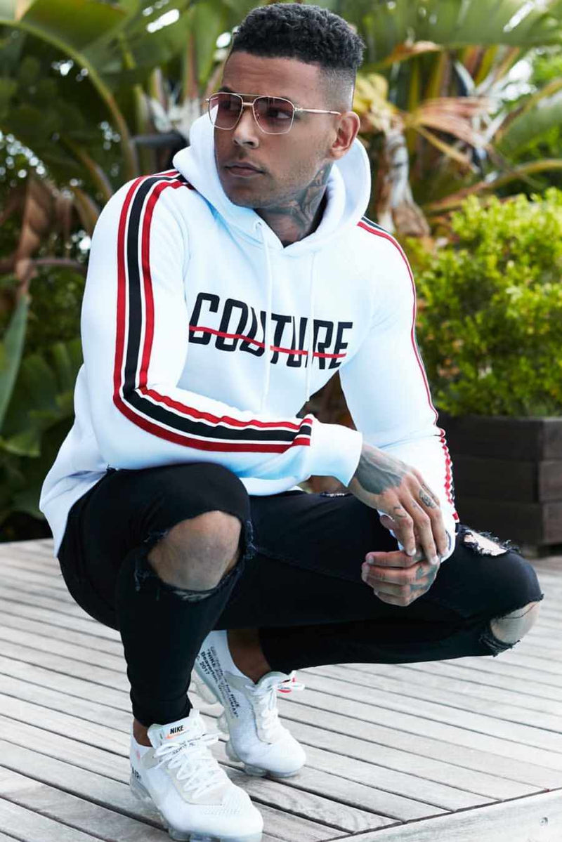 Fresh Couture Milan Fitted Fleece Hoodie - White/Red - 1