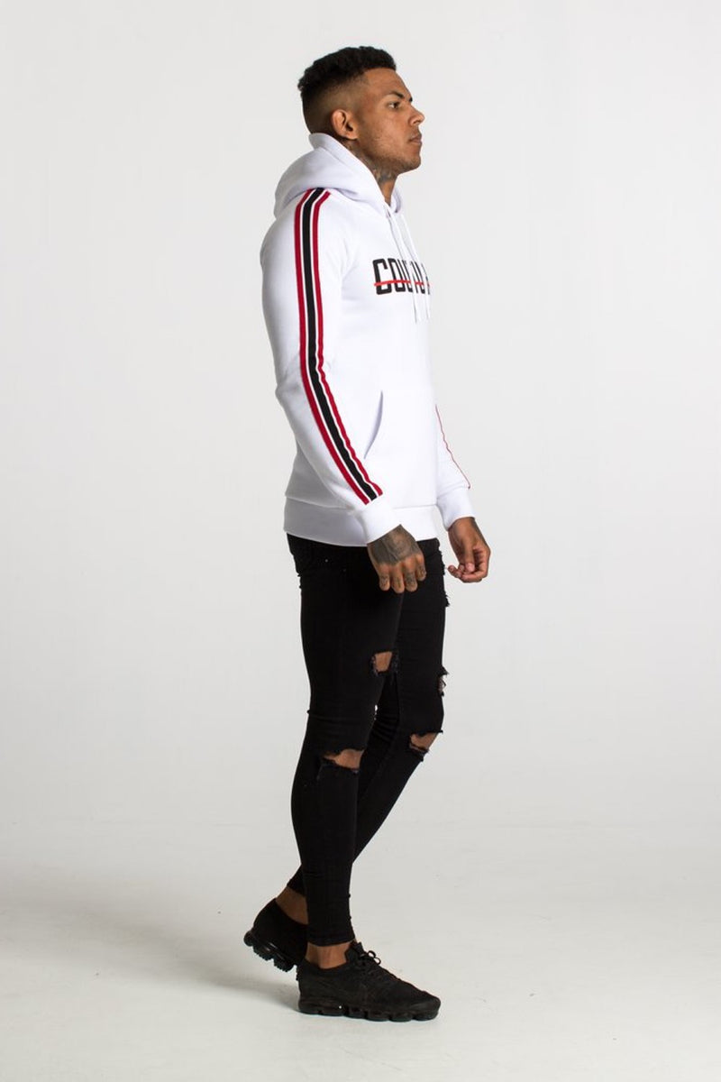 Fresh Couture Milan Fitted Fleece Hoodie - White/Red - 2