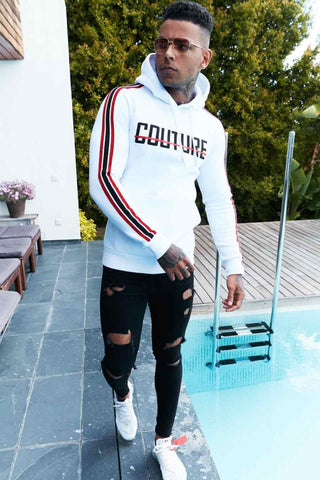 Fresh Couture Milan Fitted Fleece Hoodie - White/Red