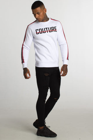 Fresh Couture Milan Fleece Sweatshirt - White/Red - 1