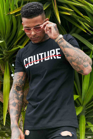 Fresh Couture Logo Longline T-Shirt - Black/Red