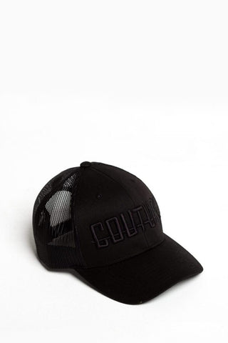 Fresh Couture Round Peak Mesh Trucker- Black/Black