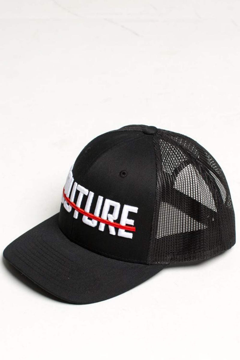 Fresh Couture Round Peak Trucker Cap - Black/Red - 1
