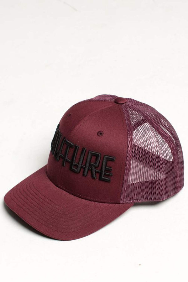 Fresh Couture Round Peak Trucker Cap - Burgundy - 1
