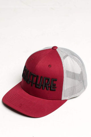 Fresh Couture Round Peak Trucker Cap - Burgundy/Grey - 1
