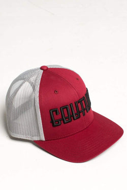 Fresh Couture Round Peak Trucker Cap - Burgundy/Grey