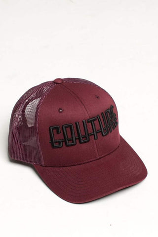 Fresh Couture Round Peak Trucker Cap - Burgundy