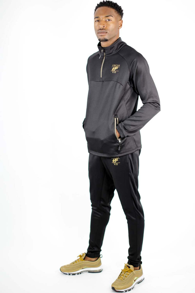 Fresh Ego Kid 1/2 Zip Poly Tracksuit - Black/Gold - 1