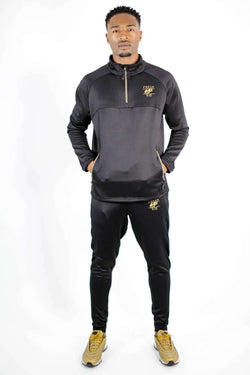Fresh Ego Kid 1/2 Zip Poly Tracksuit - Black/Gold