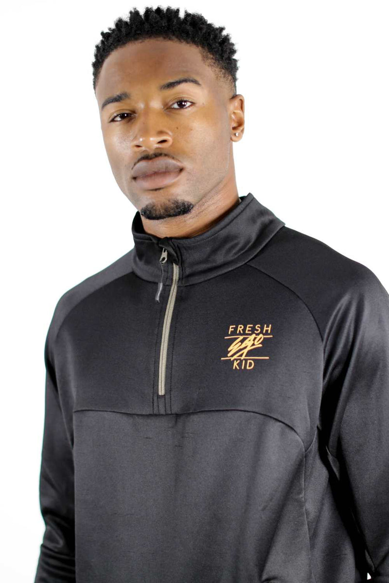 Fresh Ego Kid 1/2 Zip Poly Tracksuit - Black/Gold - 2