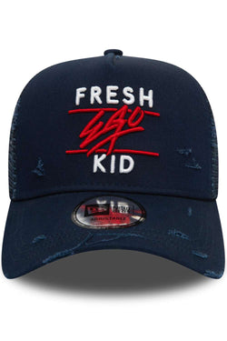 Fresh Ego Kid 940 E-FRAME Mesh Distressed New Era Cap - Navy/White/Red
